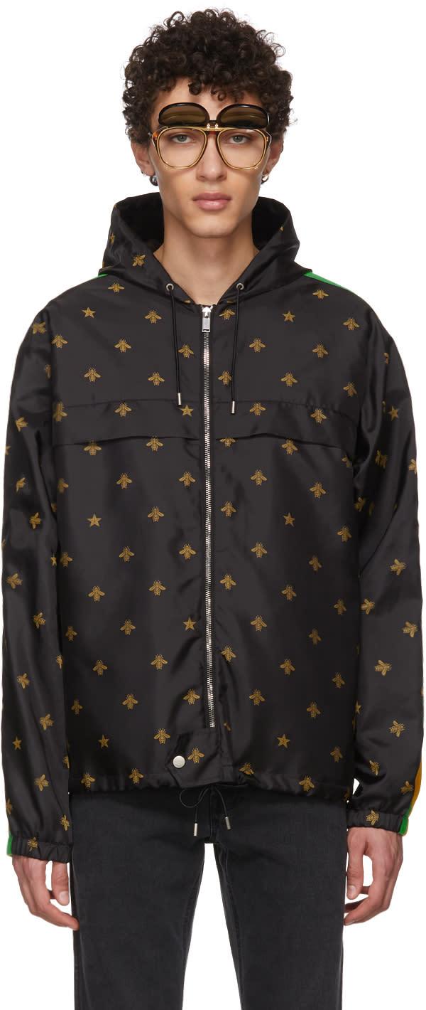 1ffd7a7276b Gucci Black Nylon Bee Hooded Jacket