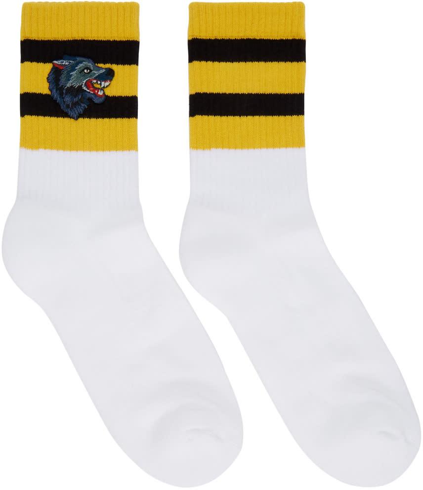 619ef46332d779 Gucci White Striped Wolf Socks