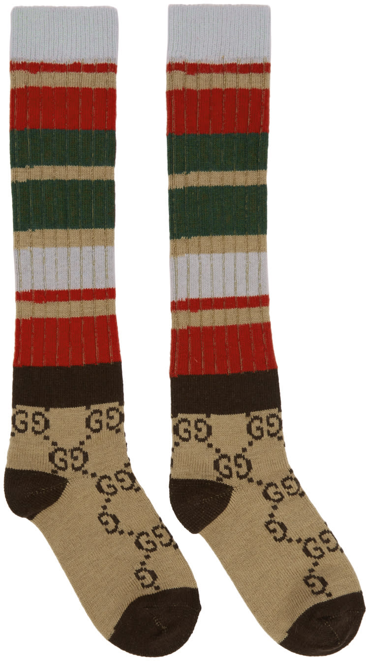 Image of Gucci Beige and Brown Multi Band Gg Socks