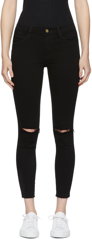 Image of Frame Denim Black le High Skinny Crop Rips Jeans