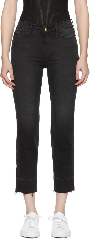 Image of Frame Denim Black le Nouveau Straight Jeans