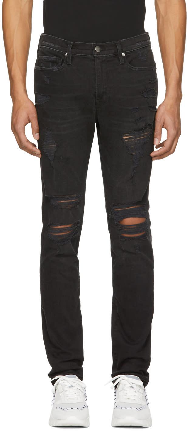 Frame Denim Black Lhomme Released Hem Skinny Jeans