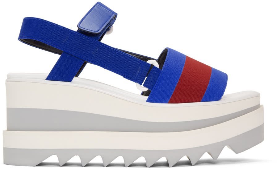 Stella Mccartney Blue and Red Striped Platform Slide Sandals