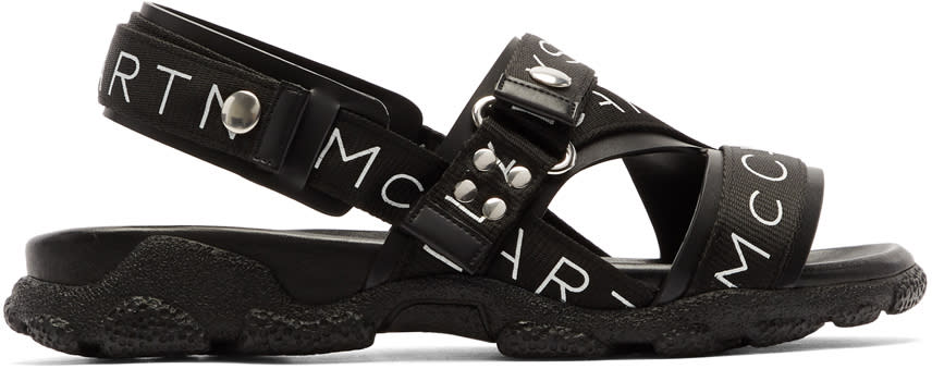 Stella Mccartney Black Logo Sandals