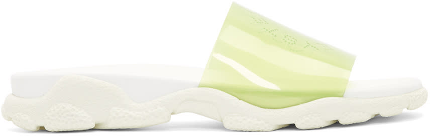 Stella Mccartney White and Green Vinyl Logo Slides
