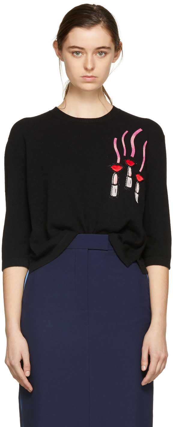 Valentino Black Lipstick and Lips Crewneck Pullover