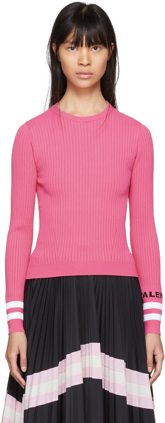 Valentino Pink Ribbed Striped Sweater