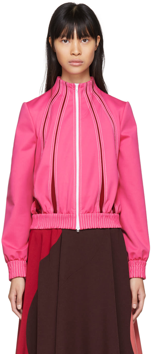Valentino Pink and Red Panelled Track Jacket
