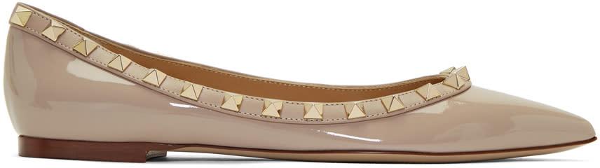 ValentinoPink Valentino Garavani Patent Rockstud Ballerina Flats
