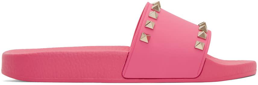 Valentino Pink Valentino Garavani Rockstud Pool Slides