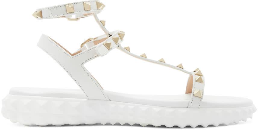 Valentino White Valentino Garavani Free Rockstud Sandals