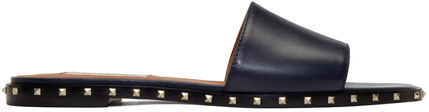 Valentino Navy Valentino Garavani Rockstud Sole Sandals