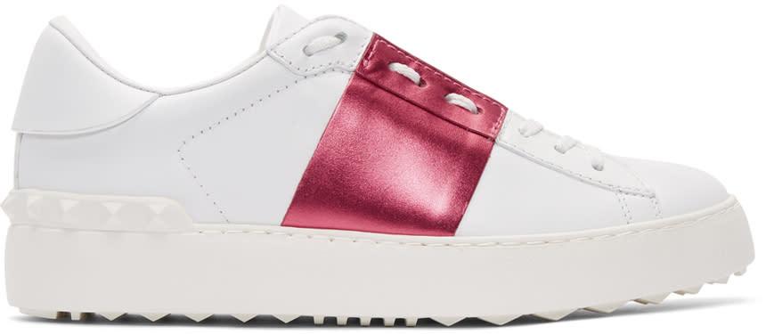 ホワイト and ピンク メタリック オープン スニーカー