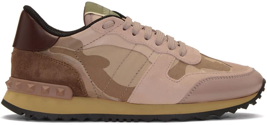 ValentinoPink Valentino Garavani Camo Rockrunner Sneakers