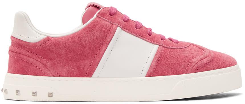 ピンク and ホワイト スエード フライクルー スニーカー
