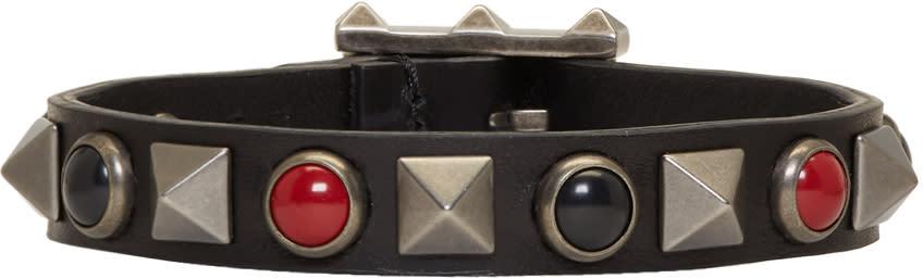 Image of Valentino Black and Red Valentino Garavani Leather Rolling Rockstud Bracelet