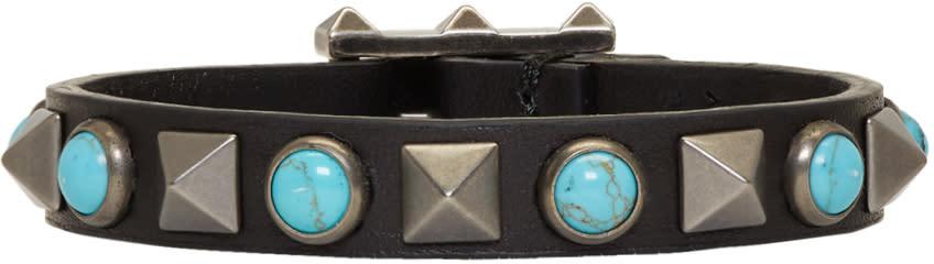 Image of Valentino Black and Blue Valentino Garavani Leather Rolling Rockstud Bracelet