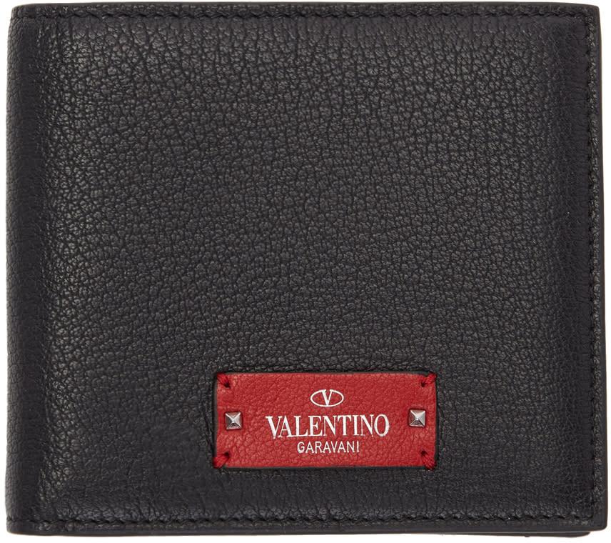 Image of Valentino Black and Red Valentino Garavani Logo Patch Bifold Wallet