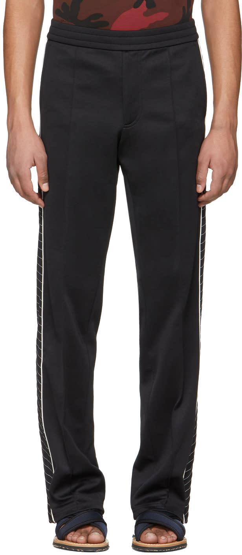 Valentino Pantalon De Survêtement Noir White Contrast