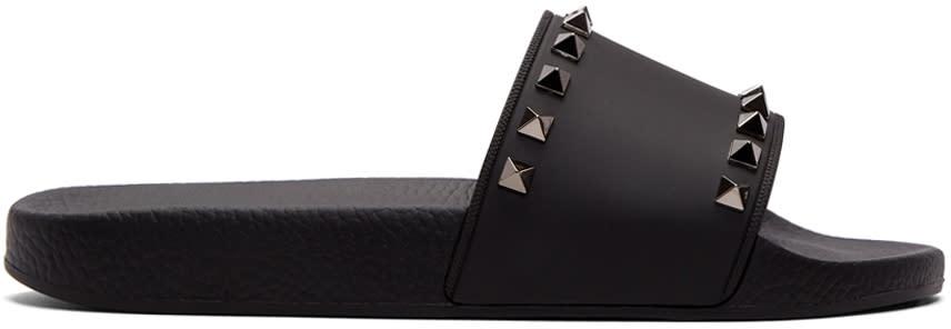 Valentino Black Valentino Garavani Pvc Rockstud Slides
