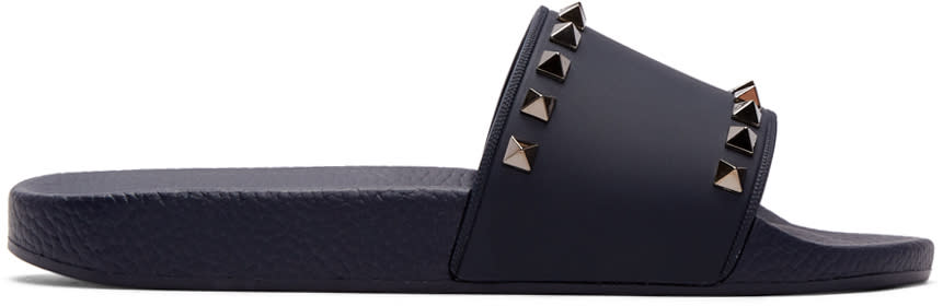 Valentino Navy Valentino Garavani Pvc Rockstud Slides