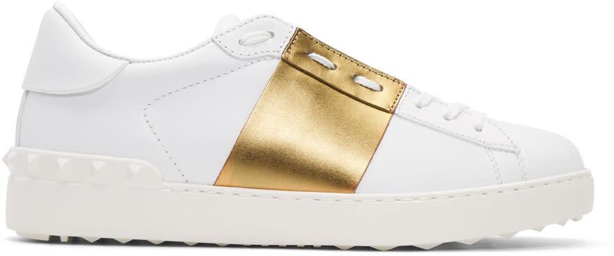 Valentino White and Gold Valentino Garavani Open Sneakers