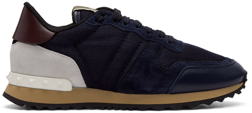 Valentino Navy Valentino Garavani Mesh Rockrunner Sneakers