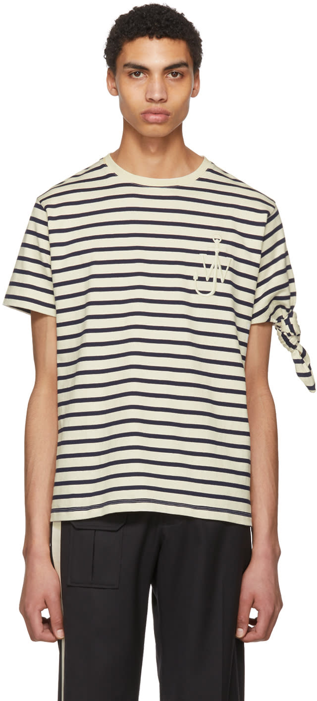 Image of Jw Anderson Black and White Breton Stripe Tie Knot T-shirt