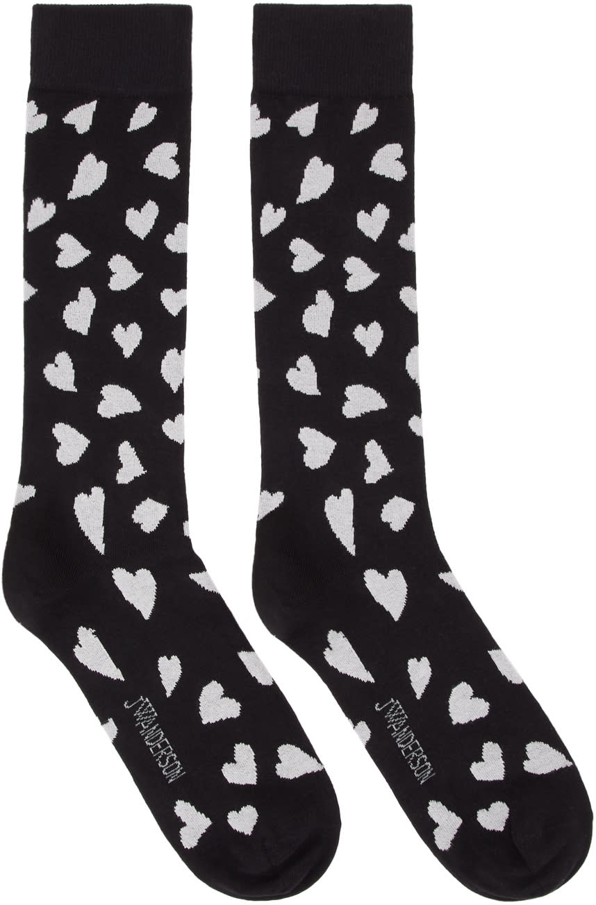 Image of Jw Anderson Black All Over Hearts Socks