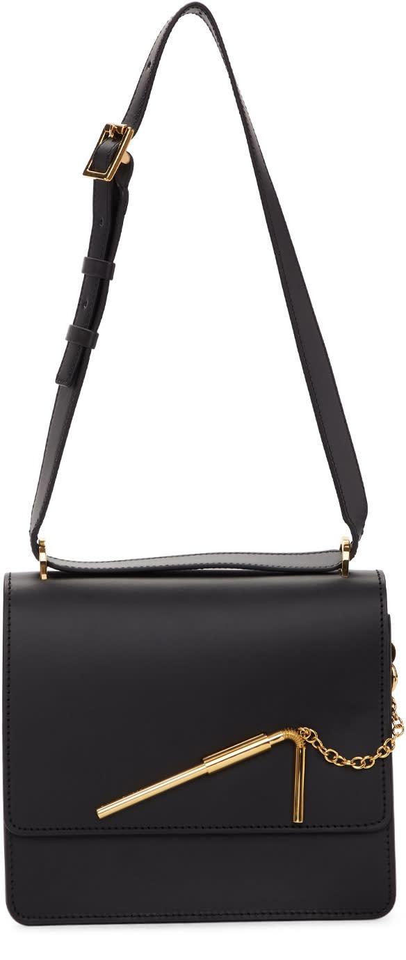 Image of Sophie Hulme Black Medium Straw Bag