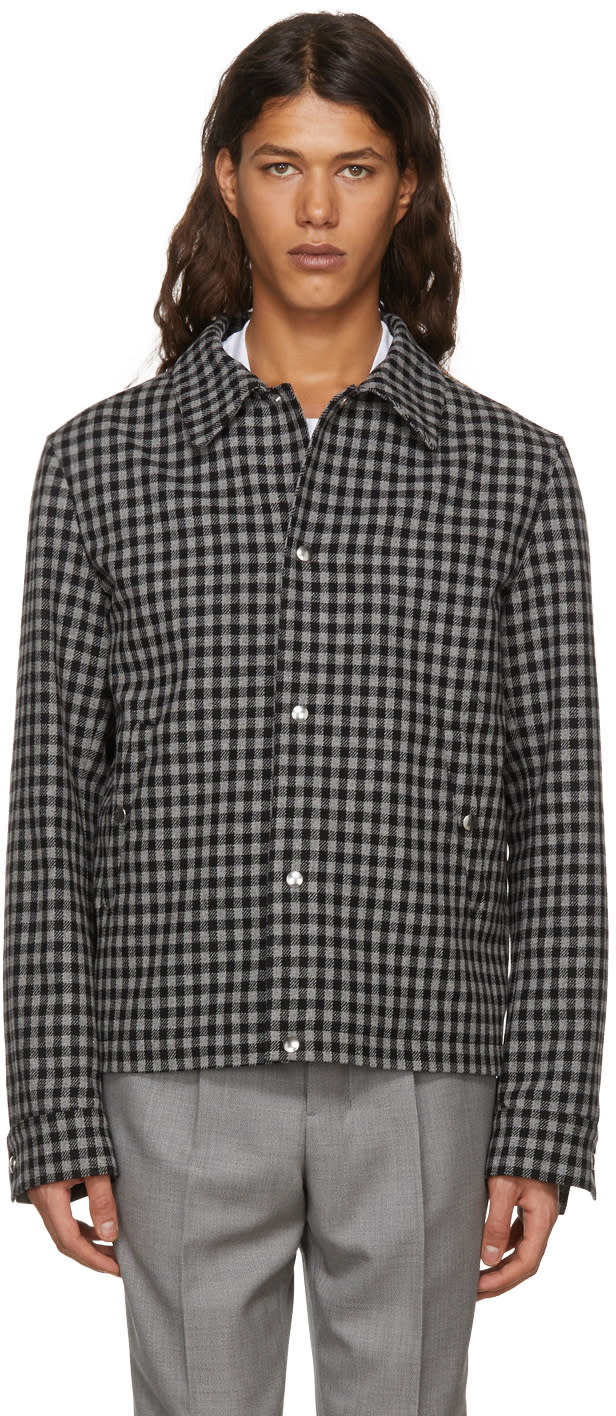 Image of Ami Alexandre Mattiussi Black and Grey Short Check Jacket
