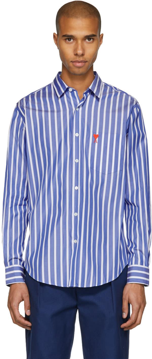 5bac8548378 Ami Alexandre Mattiussi Blue and White Striped ami De Coeur Shirt