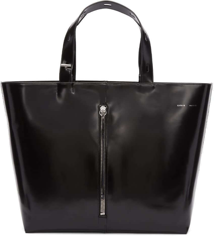 Image of Kara Black Large Polished Leather Tote