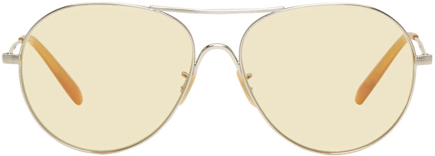 Image of Oliver Peoples Silver and Yellow Rockmore Aviator Sunglasses