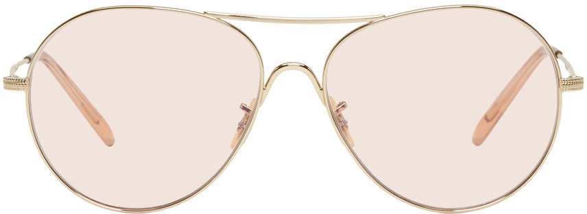 Image of Oliver Peoples Gold and Pink Rockmore Aviator Sunglasses