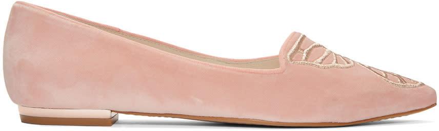 Sophia Webster Pink Velvet Bibi Butterfly Flats
