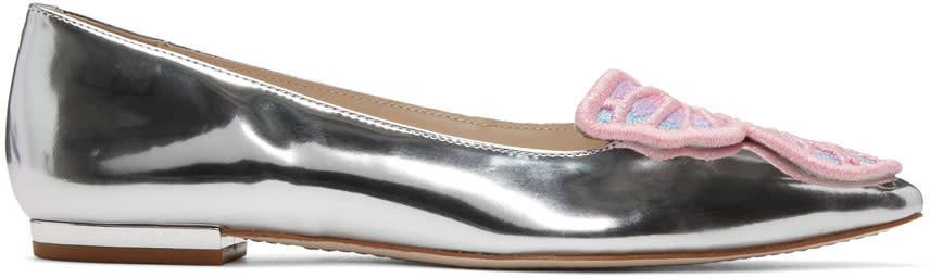 Sophia Webster Silver Bibi Butterfly Ballerina Flats