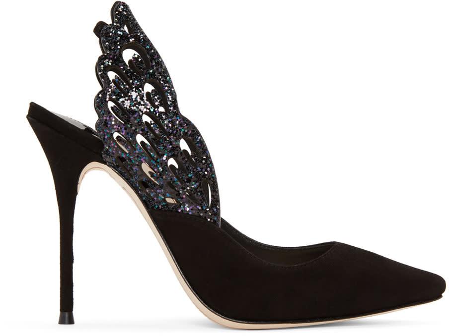 Sophia Webster Black Angelo Slingback Heels