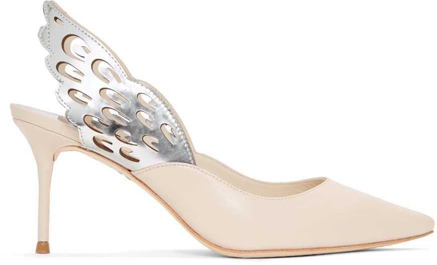 Sophia Webster Beige Angelo Mid Slingback Heels