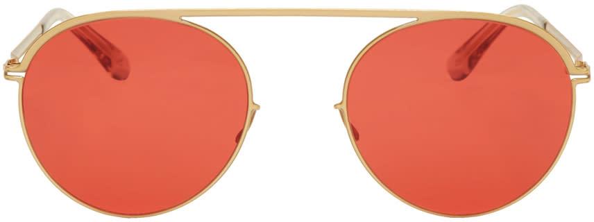 Image of Mykita Gold and Red Studio5.1 Sunglasses