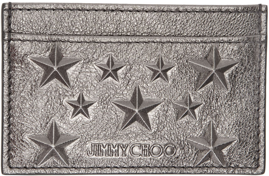 Jimmy Choo Gunmetal Metallic Dean Star Card Holder