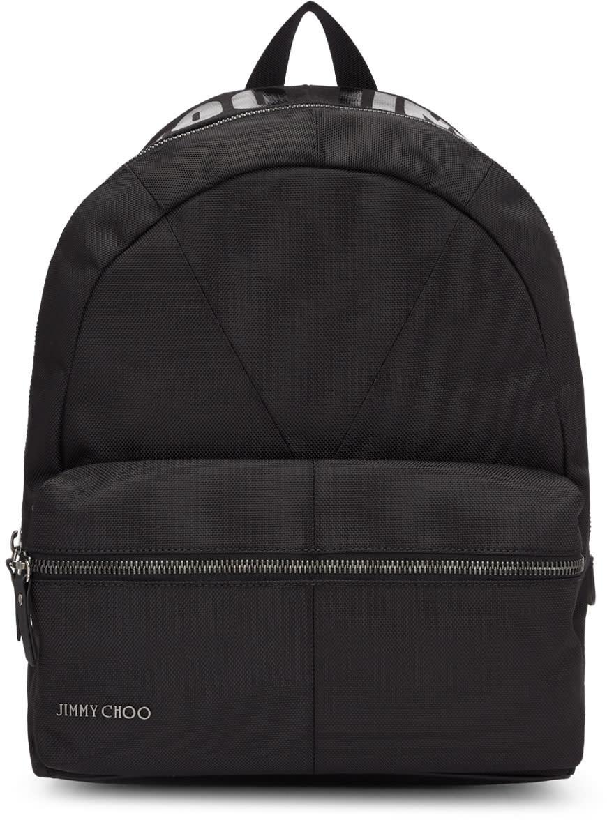 Image of Jimmy Choo Black Canvas Reed Backpack