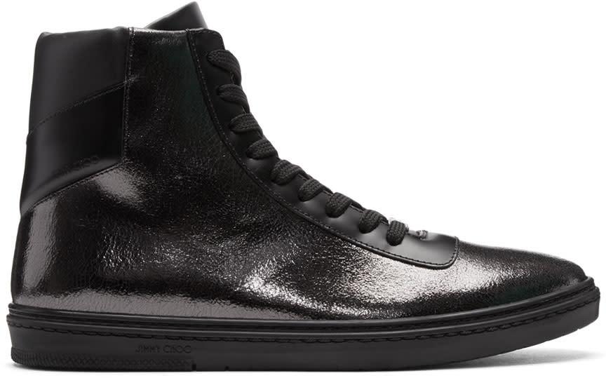Image of Jimmy Choo Black Crackled Metallic Bruno High-top Sneakers