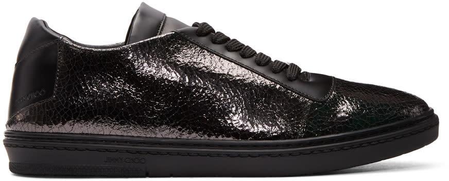 Image of Jimmy Choo Black Crackled Metallic Benn Sneakers