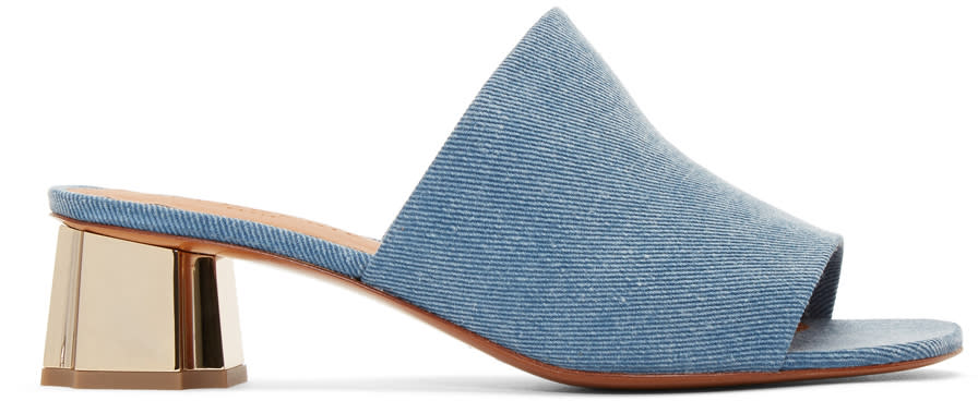 Robert Clergerie Blue Denim Lamo Mules