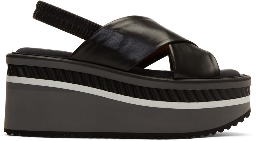 Robert Clergerie Black Platform Criss-cross Sandals