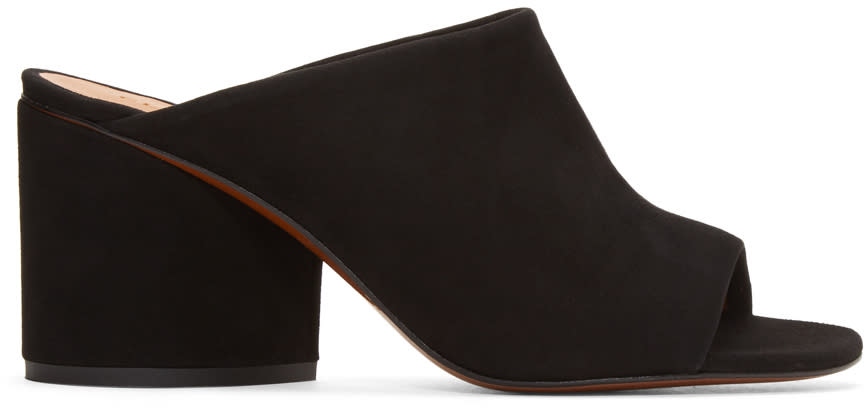 Robert Clergerie Black Suede Caren Mules