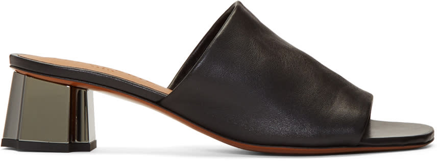 Robert Clergerie Black Lamo Mules