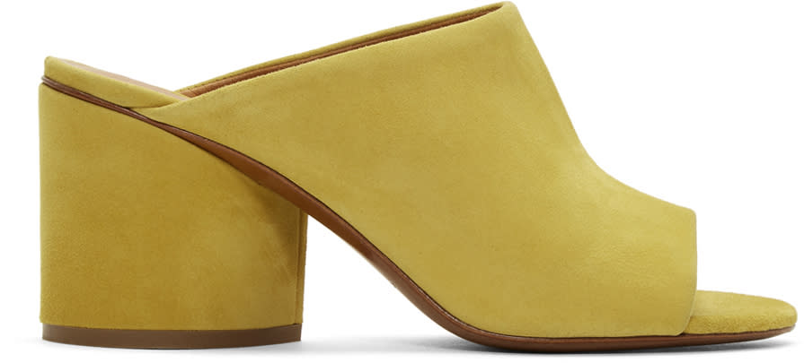 Robert Clergerie Yellow Suede Caren Mules