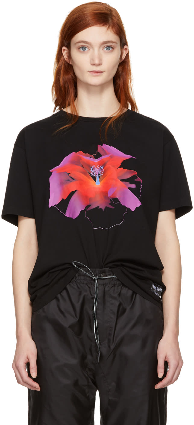 Marcelo Burlon County Of Milan T-shirt Noir Red Flower